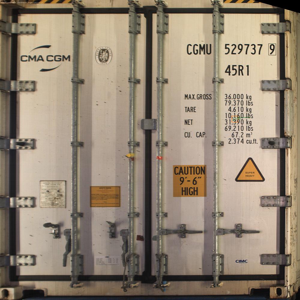 Area scan of container rear door